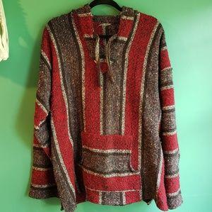Hooded baja jacket textured tunic poncho